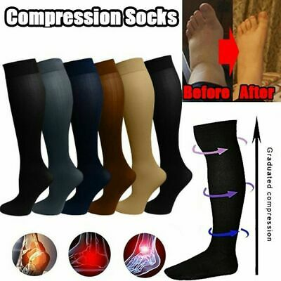 A Pair Men Women's Compression Socks Pain Relief Leg Foot Calf Support Stockings • 3.85£