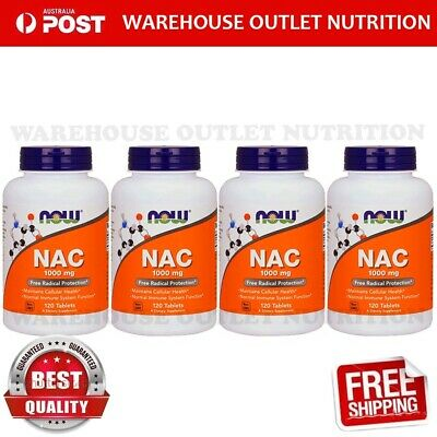 AU188.41 • Buy Now Foods N-Acetyl-Cysteine 1000 Mg 120 Tablets X 4 BOTTLES NEW