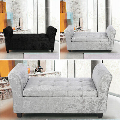 Upholstered Diamante Ottoman Window Seat Toys Velvet With Lift Up Storage Bench • 191.94£