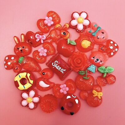 15 RED Kawaii Resin Cabochons Cute Craft Flatbacks Charms Decoden Animals Candy • 1.99£