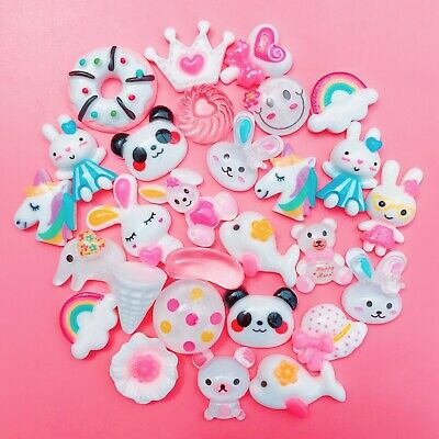 15 WHITE Kawaii Resin Cabochons Cute Pastel Animal Flatback Charms Decoden Candy • 1.99£
