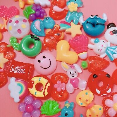 15 X BRIGHT Resin Cabochons Cute Colourful KIDCORE Flatbacks Charms Decoden 90's • 1.99£