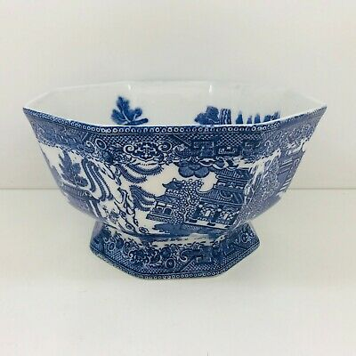 Antique Early Maling Cetem Ware Willow Pattern Octagonal Bowl. • 18.99£