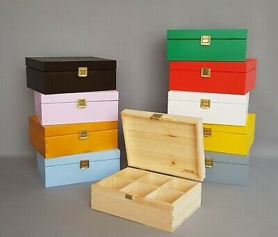 Wooden Tea Bags Storage Box Kitchen House Food Organiser 6 Compartment With Lid • 6.95£