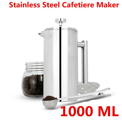 French Press Cafetiere | Steel Coffee Maker | FREE Filters With Spoons | 1000ML • 15.89£