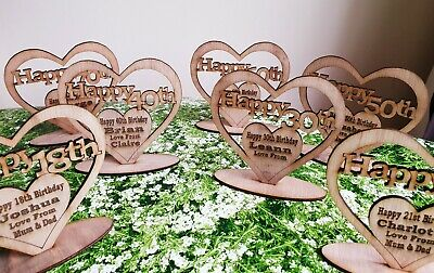 Personalised Freestanding Wooden Heart For 18th 21st 40th 65th 70 Birthday Gift  • 5.49£