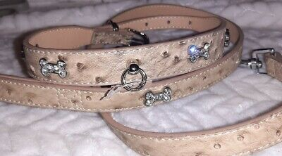 Pets At Home Cream DIAMANTE BONE Dog Collar Textured Faux Leather Or Large Set  • 5.99£