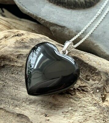 Hand Crafted Solid Whitby Jet Heart Pendant & Chain #07 • 48£