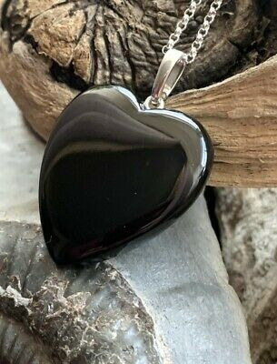 Large Hand Crafted Solid Whitby Jet Heart Pendant & Chain #010 • 55£