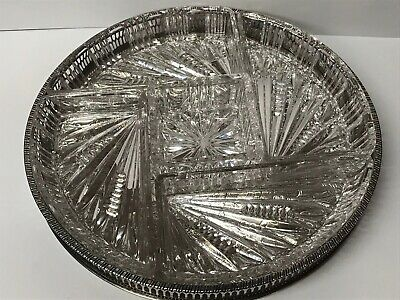 Viners Of Sheffield Silver Plate And Glass Hor Doeuvres Tray Dish  • 35£