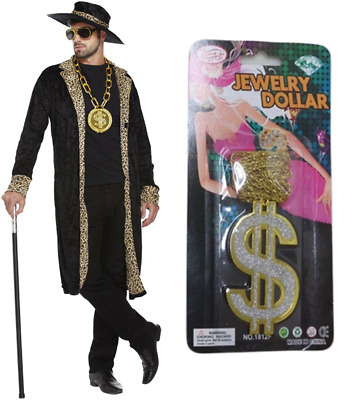 £15.99 • Buy Mens 70s Big Daddy Pimp Costume Rapper Gangster Fancy Dress Outfit With Hat