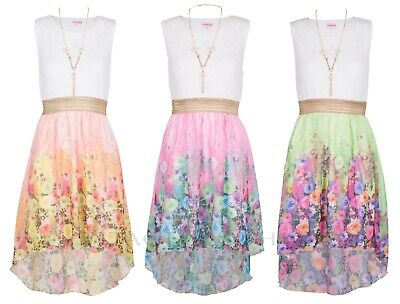 New Kids Girls Summer Party Sleeveless Lace Chiffon Floral  High Low Top Dress  • 9.99£