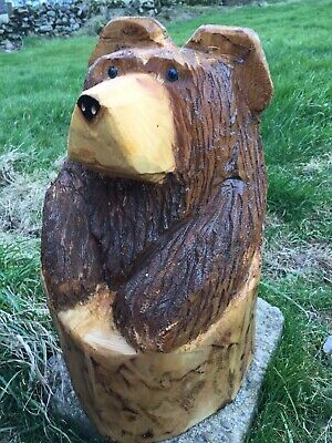 Chainsaw Carved Bear In Stump Carving Bear Ornaments Garden Home • 59.99£