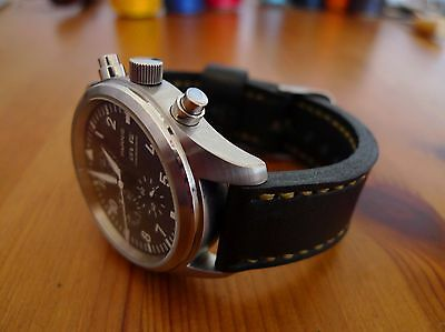 19mm Black Leather Watch Strap - Handmade In The UK. • 18£