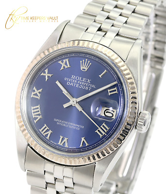 $ CDN4753.74 • Buy Rolex Mens Datejust  Stainless Steel  Blue Roman Dial Fluted Bezel 36mm Watch
