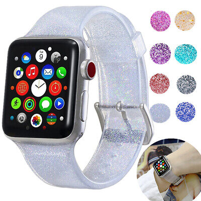 $ CDN7.32 • Buy For Apple Watch 38/42mm Shiny Glitter Silicone Strap Band Iwatch Series 12 3 4 5