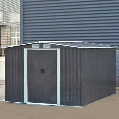 UK Metal Garden Sheds Apex Galvanised Steel Outdoor Heavy-Duty Storage Free Base • 429.95£