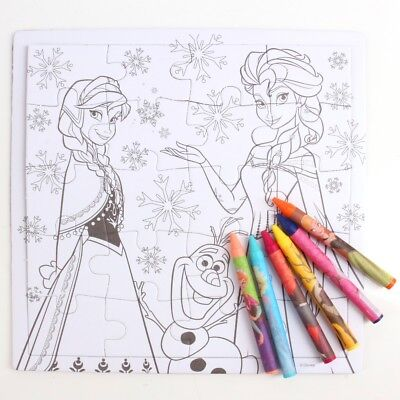 2x DISNEY FROZEN COLOURING JIGSAW PUZZLES Party Kids Table Activities Travel Car • 6.11£
