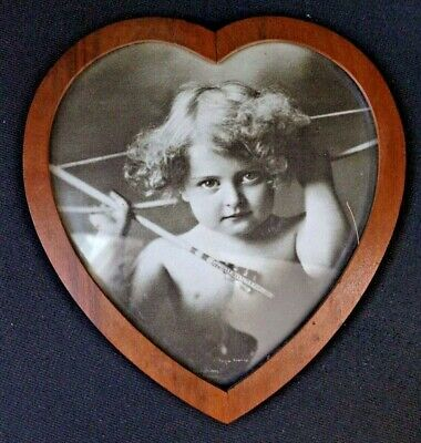 $59 • Buy Antique Cupid Awake Photograph Prints By M B Parkinson In Heart Shape Wood Frame