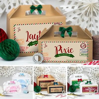 Personalised Christmas Eve Gift Box | Xmas Favour Present | With Bow • 4.95£