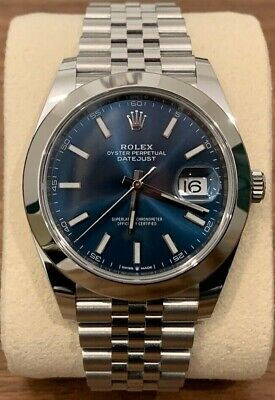 $ CDN12804.42 • Buy ROLEX Datejust 41 - NEW - Blue Dial Jubilee -126300 Smooth Bezel -2020 FULL SET