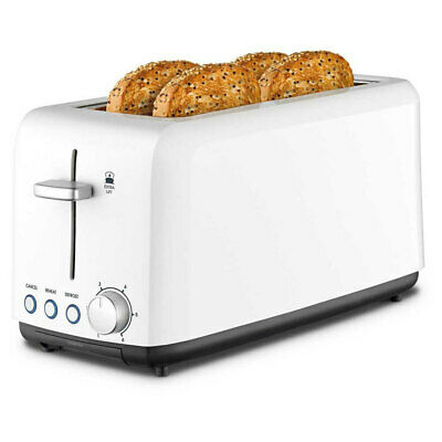 AU59 • Buy Kambrook 1450W Perfect Fit Extra Lift Wide/Long Slot Plastic 4 Slice Toaster WHT