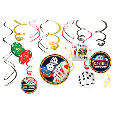 $8.95 • Buy 12pc CASINO Vegas Dice Chips Playing Card Swirls Gambling Night Decorations