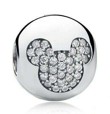 Mickey Minnie Mouse Disney Bead Round Head Charm With Gift Pouch - Silver Tone • 3.99£
