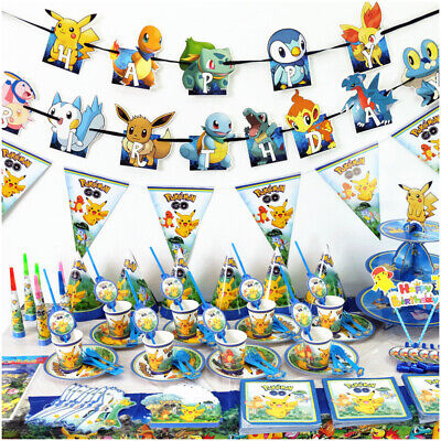 £3.99 • Buy Theme Pokemon^ Birthday Party Supplies Tableware Decoration Plates Cup Banner