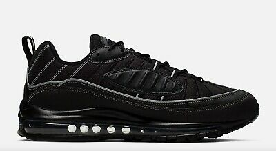 $129.95 • Buy Brand New Men's Nike Air Max 98 Athletic Training Leather Sneakers   Black