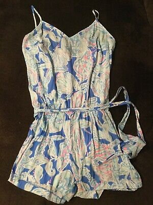 $34 • Buy Lilly Pulitzer Deanna Romper Blue Pink Shells Floral Womens Size Medium