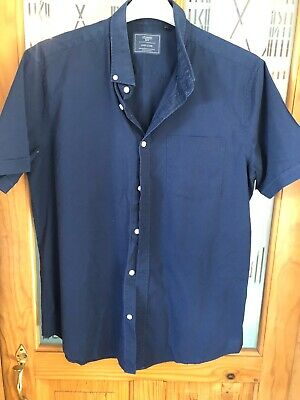 Atlantic Bay L Shirt Navy Blue Easy Care Short Sleeve Cotton Blend • 4.99£