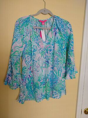$65 • Buy Lilly Pulitzer Willa Flounce Sleeve Top Amethyst Tint  *SZ Small* New With Tags