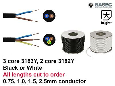 £3.17 • Buy OFFER Flexible Mains Cable 2 & 3 Core Black White 0.75, 1, 1,5, 2.5mm Wire Round