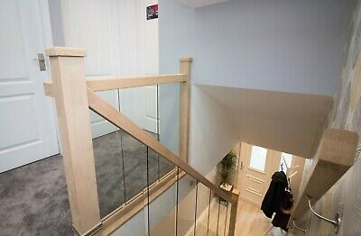 £1285.12 • Buy Oak And Glass Staircase Banister + Landing Set Including Newel Posts And Glass