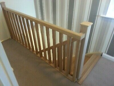 £527.85 • Buy Oak Staircase Chamfered Spindle Complete Landing Banister Set Incl. Newel Posts