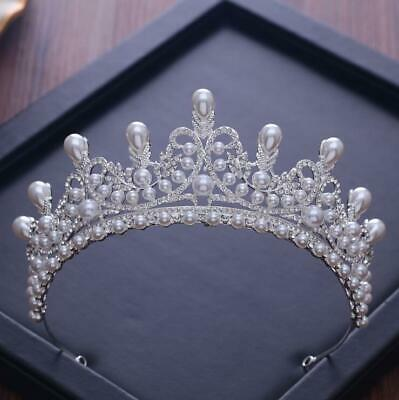 £36.91 • Buy Stunning Silver Crown/tiara With Clear Crystals & White Pearls, Bridal Or Racing