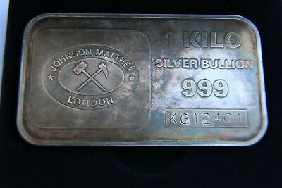 AU1800 • Buy Rare Johnson Matthey London Silver 1 Kilo Ag Bullion Bar Minted Bankers Limited