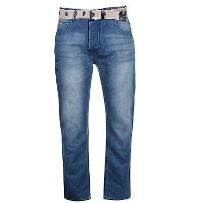 Lee Cooper Mens Belted Casual Jeans Bottoms Belt Included Wash Effect Button Fly • 18.89£