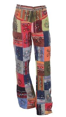 £24.99 • Buy Patchwork Casual Trousers Hippie Pants Festival 60s 70s Flared Bootcut Fancy S49