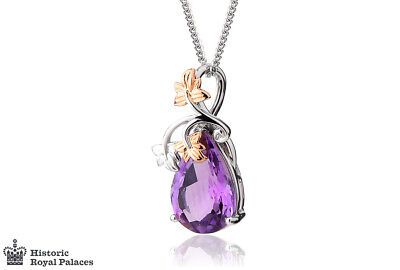 £700 • Buy NEW Welsh Clogau 18ct White & Rose Gold Great Vine Amethyst Pendant £800 Off!