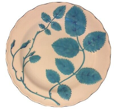 Minton Cabinet Plate Pure White With Raised Turquoise Foliage  C19 • 90£