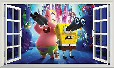 SpongeBob SquarePants 3D Magic Window Wall Art Sticker Self Adhesive Vinyl V11* • 11£