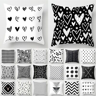 £2.68 • Buy Pillow Case 18'' Geometric Cushion Cover Black And White Polyester Throw Square