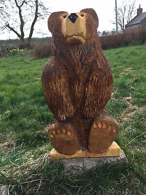 Chainsaw Carved Brown  Bear Carvings Garden Animal Bear Carving • 79.99£