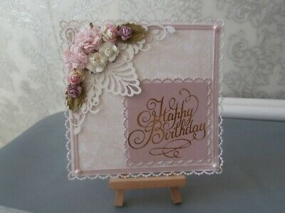 Large Handmade Happy Birthday Card Topper (Flowers/Foiled) • 1.25£
