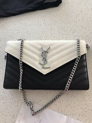 AU1550 • Buy Ysl Monogram Chain Wallet White And Black Authentic Bag Flawless