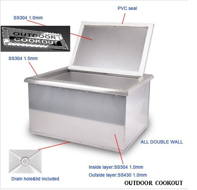 $315 • Buy DROP IN ICE CHEST 21  X 16  STAINLESS STEEL 304 OUTDOOR SUMMER KITCHEN BBQ   Sss