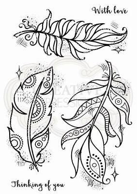 Woodware Boho Feathers Clear Stamp Set By Francoise Collection FRS791 • 6£