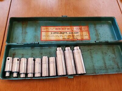 $75 • Buy Mac Tools 3/8 Drive 6 7 9-13 16-18MM 6PT Deep Sockets Lot Of 10 With Case